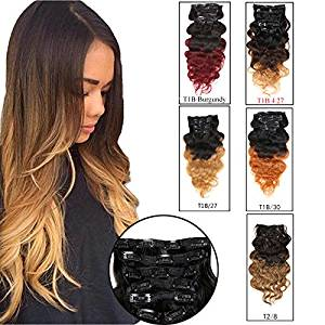 "Double Weft Full Head Clip in Hair Extensions Human Hair Top Grade 7A ombre Wavy 5 Colors Blonde Copper Red Burgundy Brown to Blonde 70g-160g 7 Pieces 8""-28"" (100g 20"", T1B/4/27)"