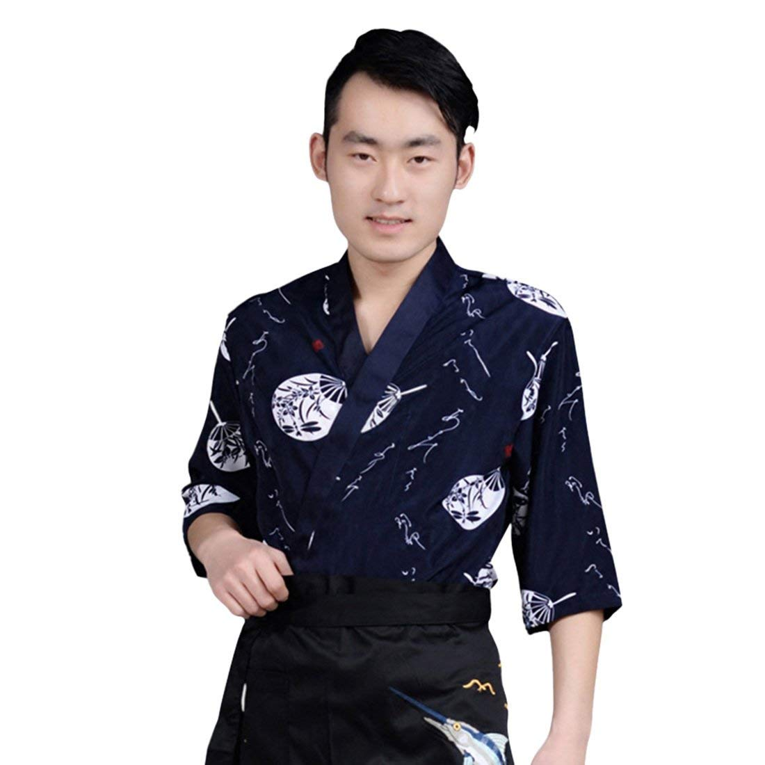 Jiyaru Unisex Sushi Chef Jacket Kimono Japanese Korea Coat Chef Uniform