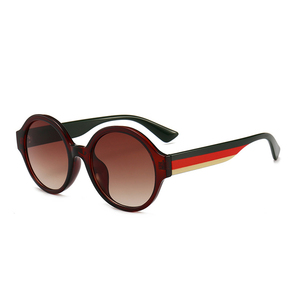 Wholesale women round sunglasses stripes frame & black temple round shape women sunglasses