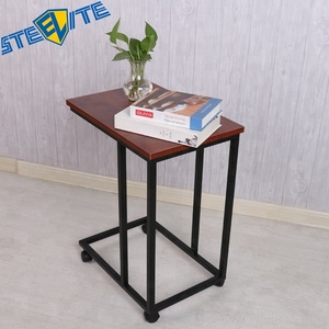 New Design Wooden Top Metal Frame Tv Tray Snack Table Slate Sofa Couch Side Table With Wheels