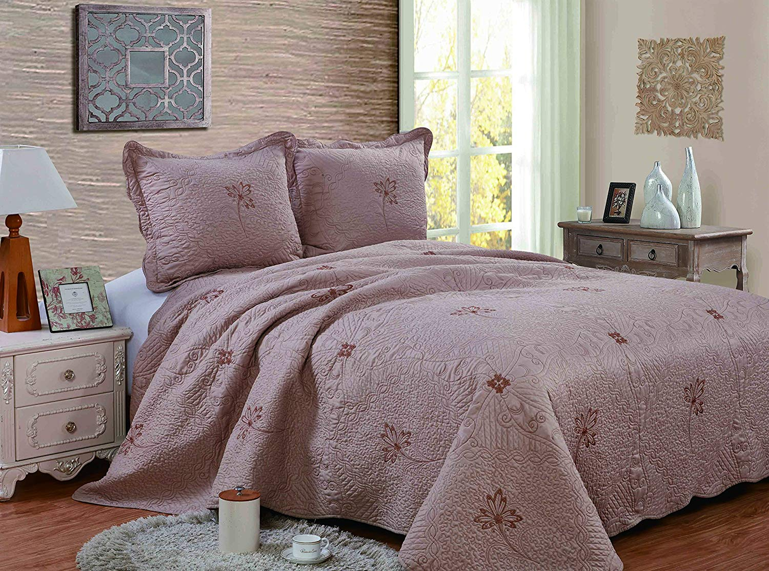 Get Quotations Qualitex Embroidery All Season Solid Color 3pcs Quilts Set Bedspreads Bed Coverlets Cover Sets Cal