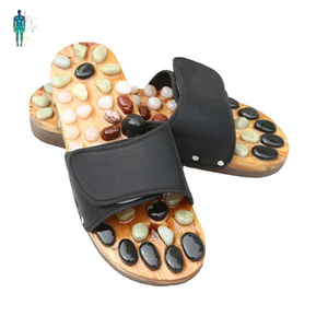 Factory price black color stone acupressure foot massage slipper