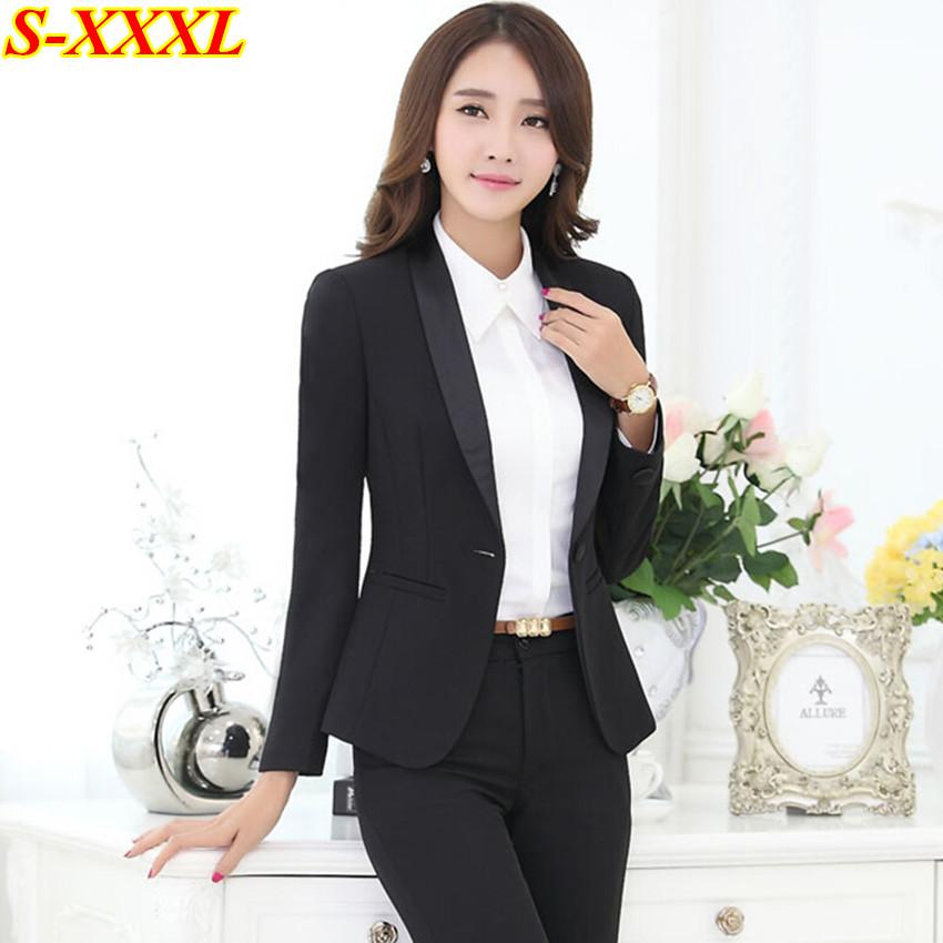 c62c17d0282 New autumn elegant workwear women s black pants suits set plus size office  ladies slim formal long sleeve blazer suit trousers   Nice plus size  clothing ...
