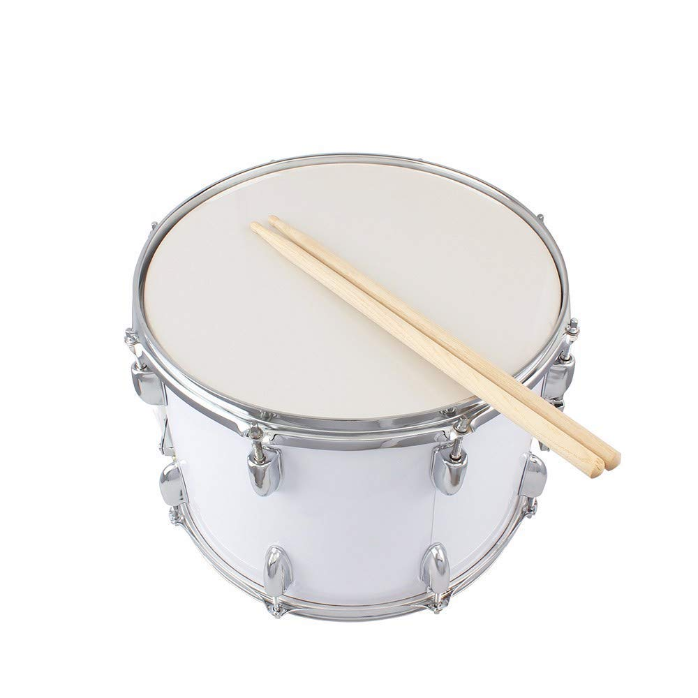BQLZR Stainless Steel Black 14 Inch Snare Drum for Kids/&Beginners with Drum Strap Stick Key Percussion Musical Instrument