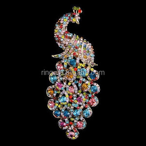 New Arrival Full Colorful Rhinestone Peacock Brooch Gold Colorful Crystal Peacock Breastpin For Women Wholesale