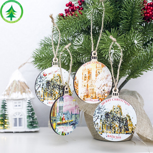Xibao 2019 new design Festival Christmas Tree Ornaments wooden Colourful drawing Small Ornaments Hanging Decorations