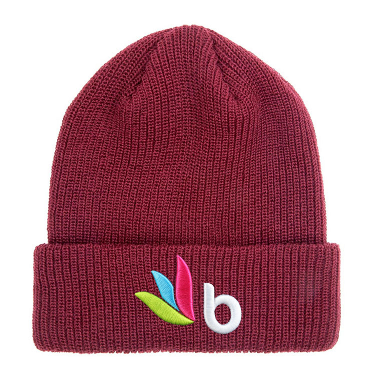 blank beanie cap Custom winter embroidery acrylic knitting beanie with jersey
