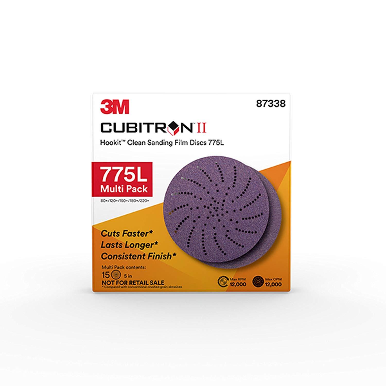 3M Cubitron II Hookit Clean Sanding Film Disc 775L, 87338, Multi Pack, 5 In x NH, 80+ to 220+ Coating Cut Cutting Angle Flute Purple
