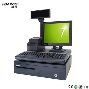 2018 New Good Quality Windows 7 Big Memory All In One Pos System/Cash Register with 58mm Printer for supermarket/shop HBA-A8