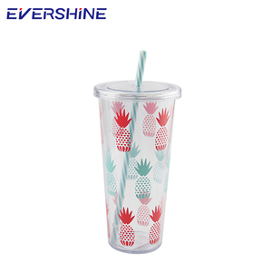 Cheap price high quality drinkware 24oz signal wall tumbler cup with straw