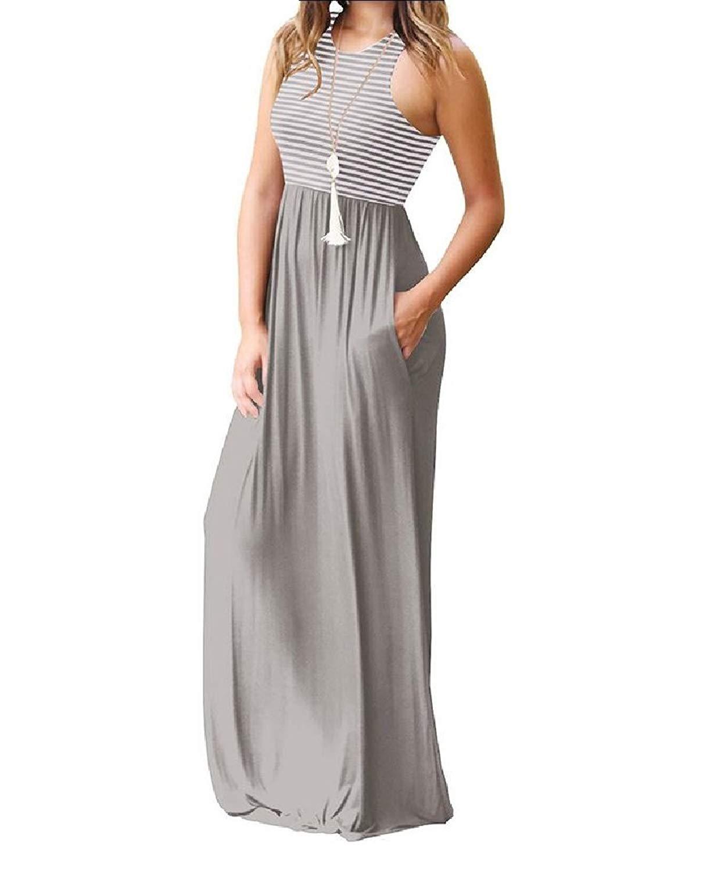 Zimaes-Women Stripe Sleeveless Summer Crew-Neck Long Party Tunic Dress