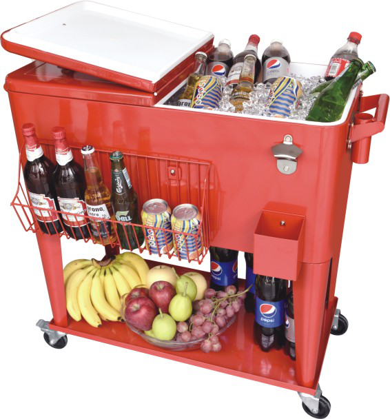 60QT cooler beverage cart with tray last for 48h