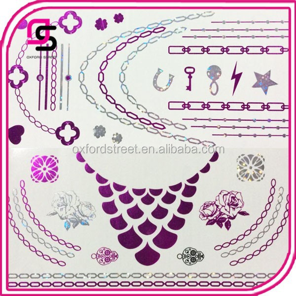 Custom body tattoo sticker temporary body tattoo sticker purple laser tattoo