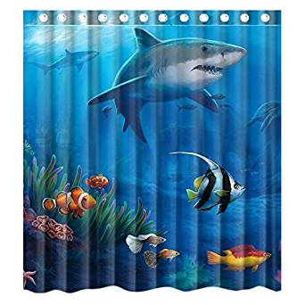 Get Quotations Custom Under Sea Fish Sharks Waterproof Bathroom Shower Curtain Polyester Fabric Size 66 X