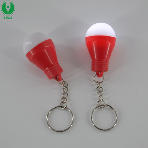 Promotional Gift Plastic Blinking Led Light Bulb Keychain for Bag