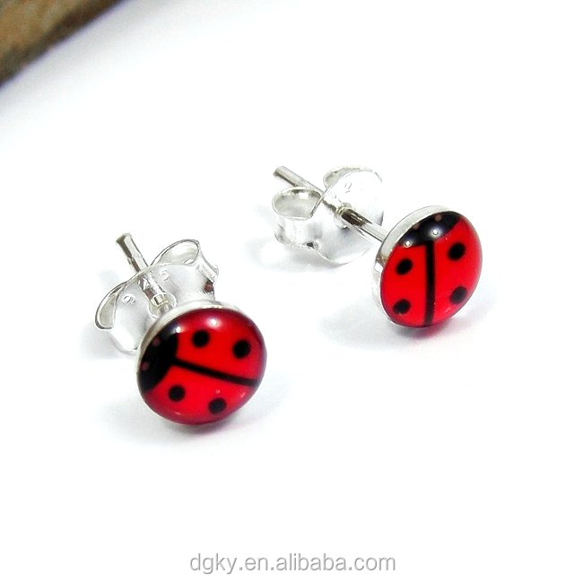 Red Lady Bug Studs Ear Piercing Earrings Stainless Steel Studex