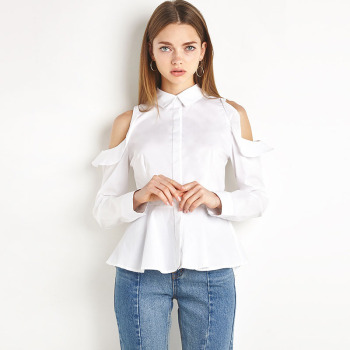 MS74740L High quality women white off-shoulder shirts