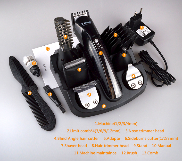 Kemei KM-600 Best Cordless Home Hair Clippers for Sale electric hair trimmer set Wholesale