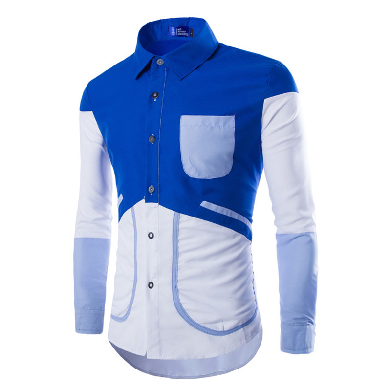 6e1277a756 Get Quotations · New Korean Men Fashion Patchwork Shirts Plus Size M-2XL  Long Sleeve Style Clothing 2015