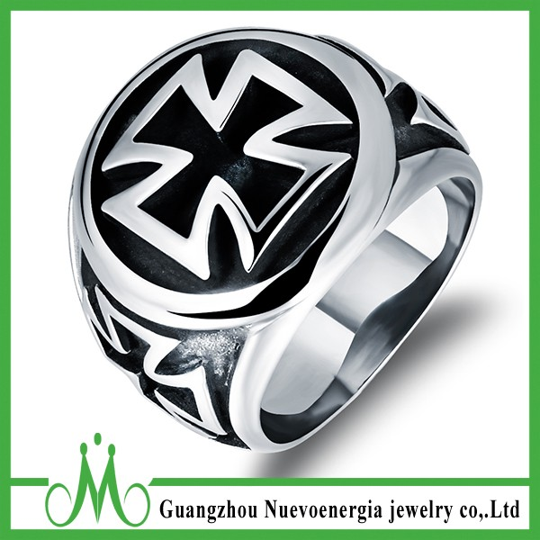 Factory direct 316L Stainless steel floating ring holy cross ring jewelry for men