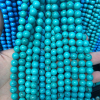 loose gemstone Hubei turquoise stone beads 8mm natural blue turquoise stones for jewelry making