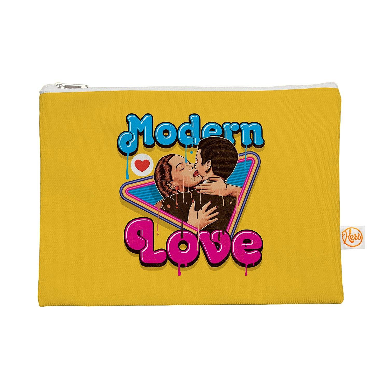 "Kess InHouse ""Modern Retro Love"" Everything Bag, 12.5"" x 8.5"", Yellow Neon (RP1034AEP02)"