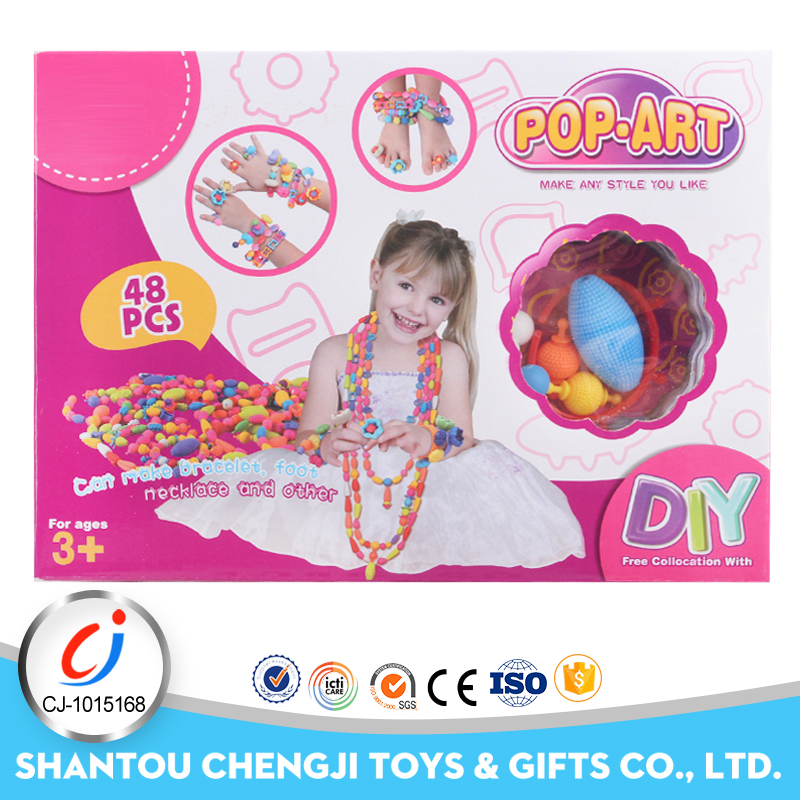 Wholesale interlock diy fun toys lovely jewelry educational plastic pop beads