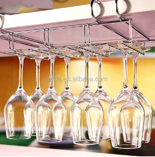 Metal No Peg Under Cabinet Wine Glass Holder Stemware Holder