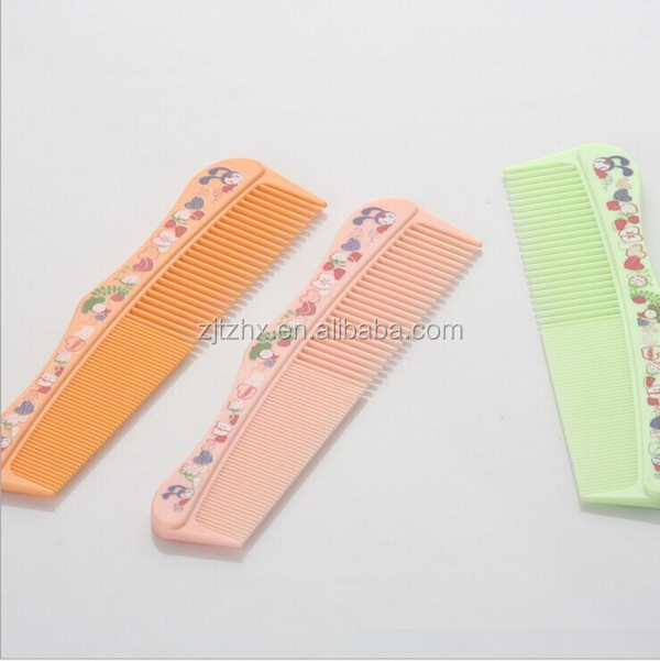 Wholesale Plastic Factory Direct Sell Fashion Baby Hair Comb With Half Fine Teeth Half Wide 21*3.1cm