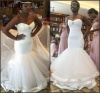 Mermaid Pleated Wedding Gown High Quality Tulle Hem Lined Wedding Bride Dresses