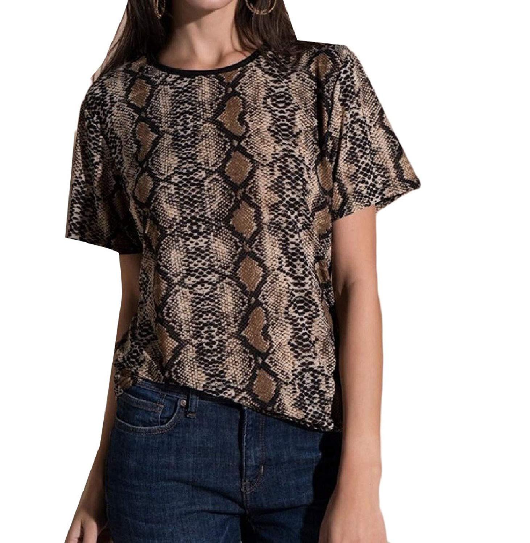 Zimaes-Women Snakeskin Grain Flower Printed Short-Sleeve O-Neck Sexy Tunic Top Tees
