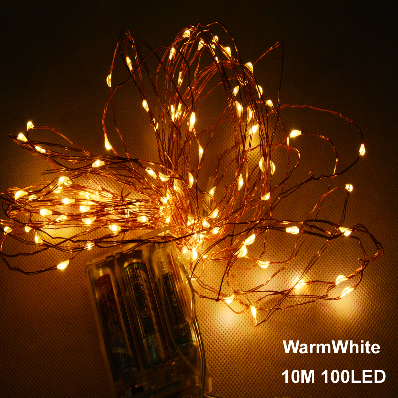 10m 33ft 100 led 3aa battery powered outdoor led copper wire string lights for christmas. Black Bedroom Furniture Sets. Home Design Ideas