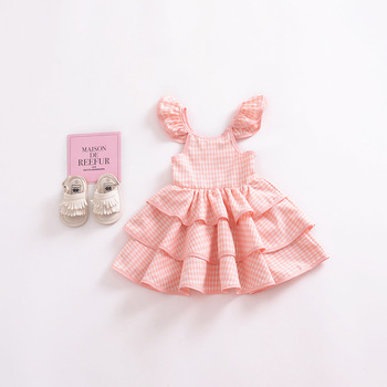 db73f1650161a Cute Newborn Infant Toddler Baby Girls Dress Kids Checked Fly Sleeve Cake  Pongee Dress Kids Princess