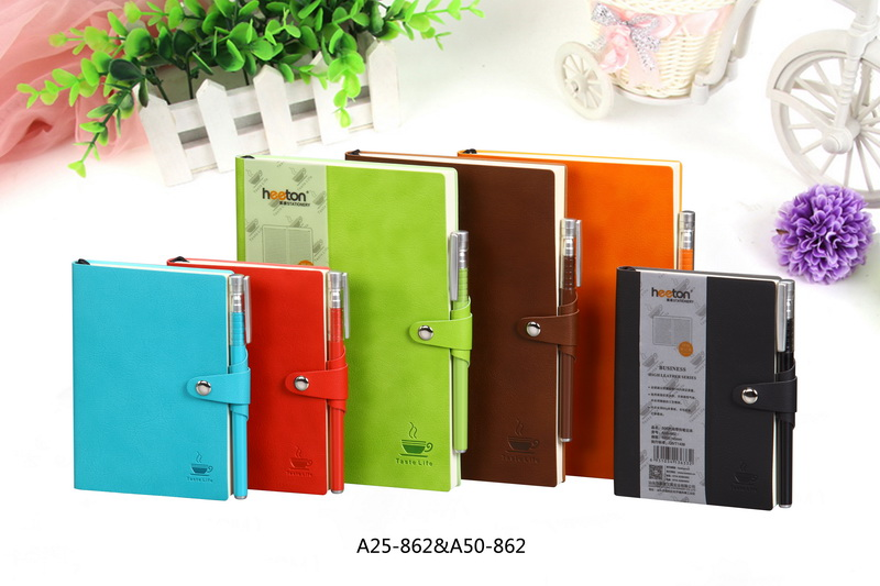 promotion gift A5 A6 PU soft cover leather business notebook with pen
