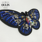 Embroidery butterfly patches with crystals stones handmade type iron on sequence patches