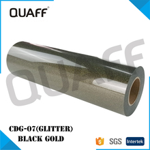QUAFF Korea Glitter heat transfer vinyl sheets for clothing For sale Black Gold color