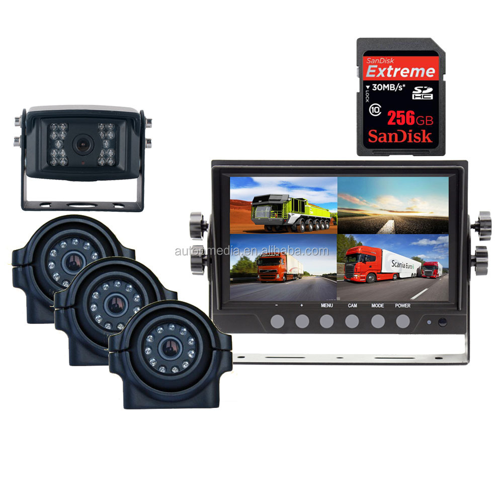 256G SD recording, QUAD display AHD720/960/1080P DVR inbuilt 7inch monitor with AHD camera ideal for reversing, monitoring