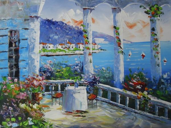 Mar mediterr neo paisaje pintura al leo sobre lienzo - Oleos para dormitorios ...