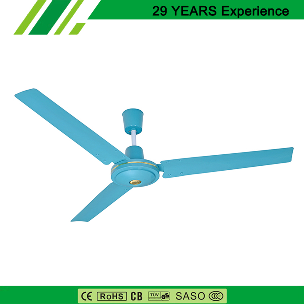 Fashion Blue Commercial Ceiling Fan 3pcs Blades AC 220v For Shop
