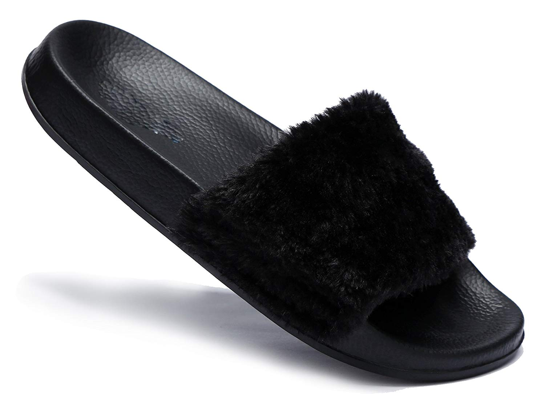 Get Quotations · LaRosa Womens Flip Flop Faux Fur Slip On Slipper Slide  Flat Mule Sandals Shoes Slippers 2379c1258