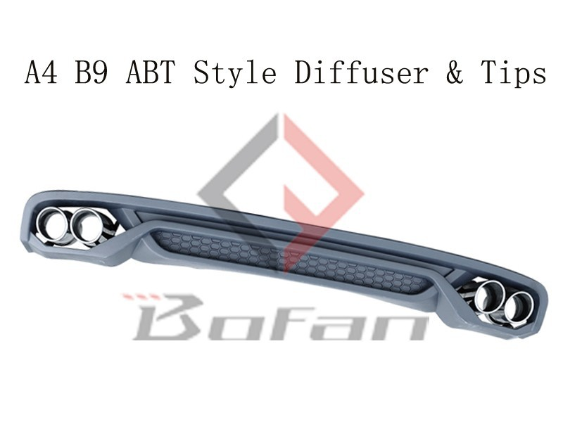 Abt Style A4 B9 Rear Diffusertail Pipe Car Rear Bumper Diffuser For