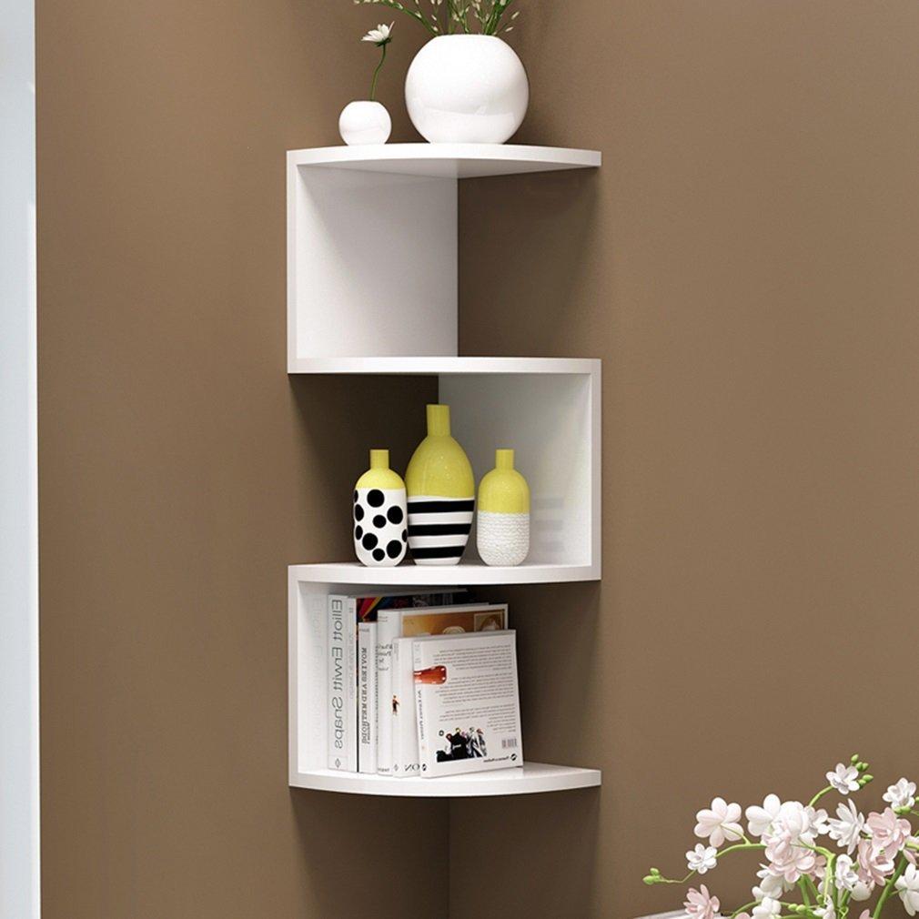 LQQGXL Storage and organization Wall shelf, living room bedroom corner shelf environmental wood shelf storage rack bathroom kitchen storage shelf (Color : 6720cm)
