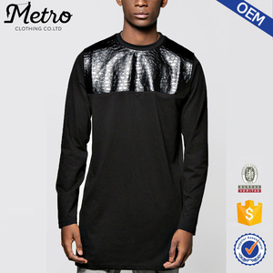 Fashion Custom Mens Black Longline Crocodile PU T Shirts