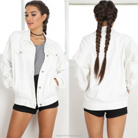 Custom Wholesale 100% Cotton plain white denim jacket for women