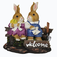 Easter Bunny Couple Figure Statue Polyresin Welcome Sign