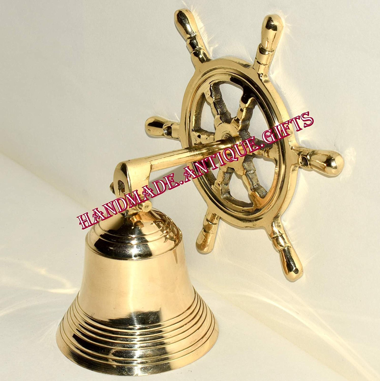 Buy Nautical Marine Shiny Brass Wheel Ship Bell~Wall Hanging Door ...