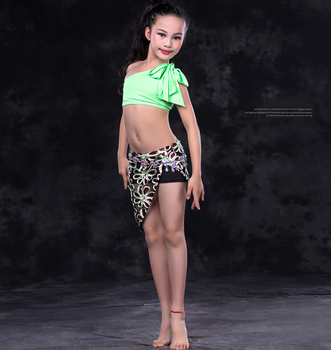 8ab08f2975b1 Rt157 Wuchieal Kids Belly Dance Top And Mini Skirt For Practice ...