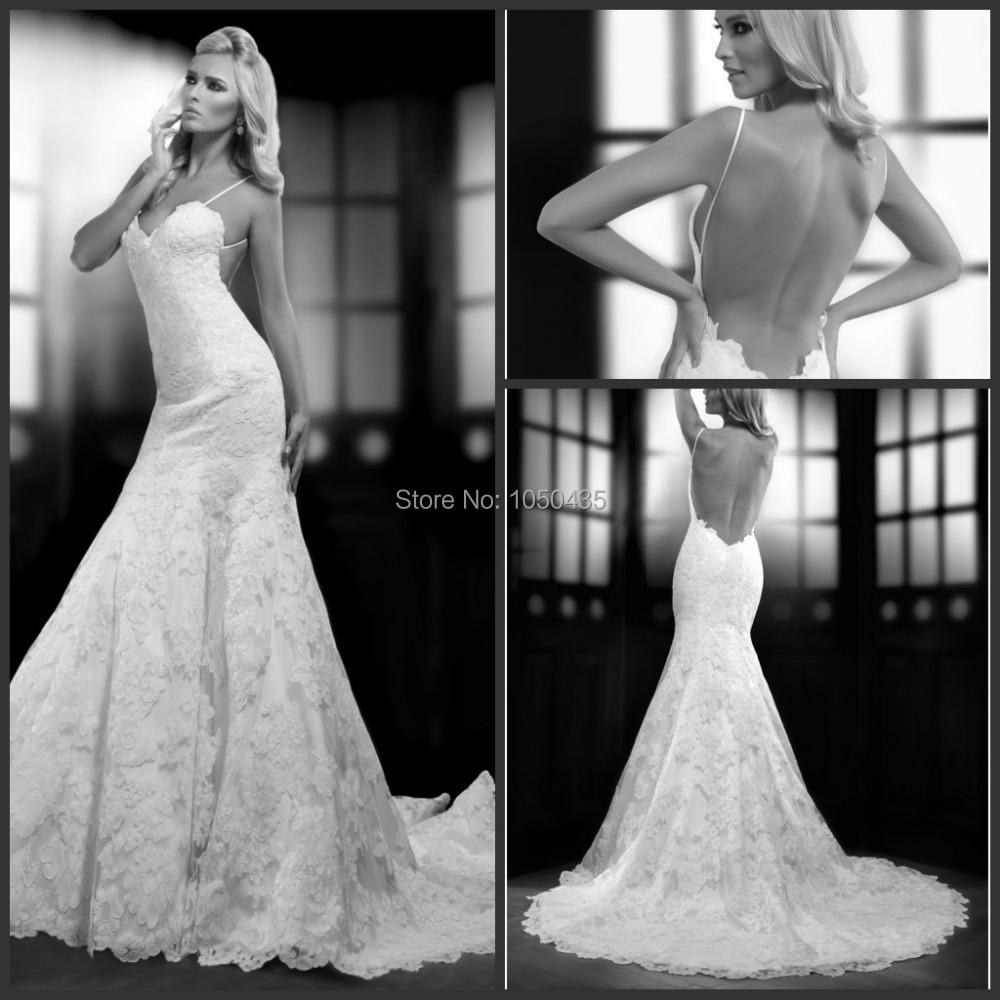 Sexy Spaghetti Straps Wedding Dresses Mermaid Lace Vestido