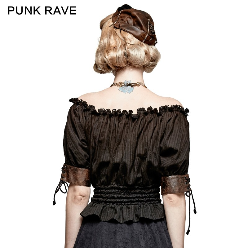 T-444 Horizontal Neck Steampunk off-shoulder ruffled top with short sleeves