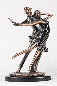 13 Inch Bronze Traditional Couple Dancing on Stand Decorative Statue